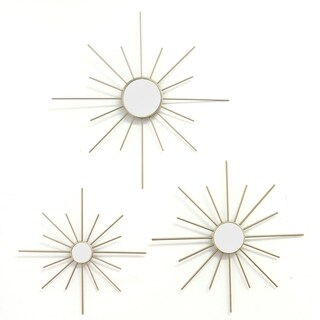 Stratton Home Decor Hand Crafted Set of 3 Gold Mirror Burst Wall Decor
