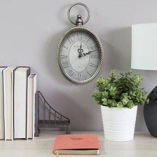 Stratton Home Decor Antique Silver Oval Wall Clock