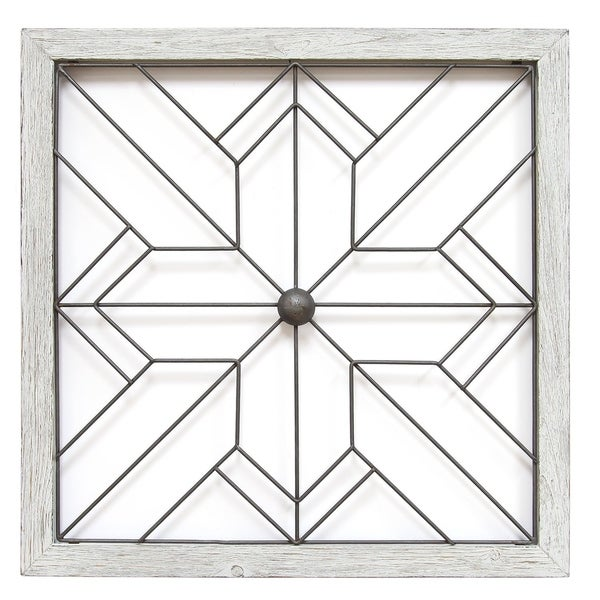 Shop Stratton Home Decor Art Deco White Metal Wood Square Wall Decor ...