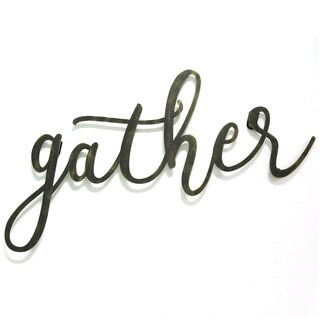 "Stratton Home Decor Black ""gather"" Script Wall Decor"