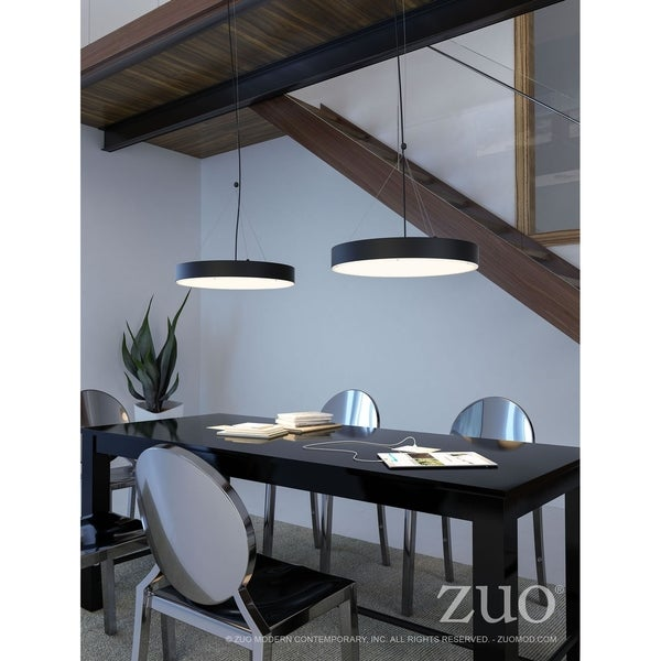 Apricot Matte-black-finished Metal 24-watt LED Floating Pendant Ceiling Lamp