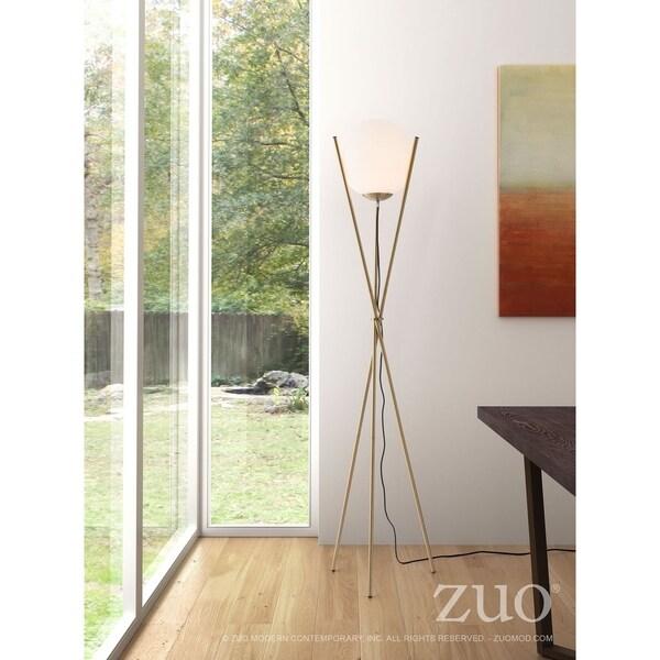 Antwerp Floor Lamp White & Brushed Brass