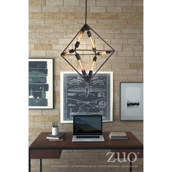 Union Metal Rust Finish Diamond-shaped 6-light Ceiling Lamp