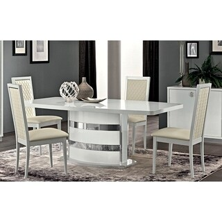 Luca Home White Wood and Chrome Glam Dining Table