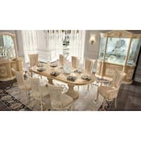 Luca Home Ivory Wood Extendable Dining Table