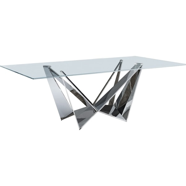 Luca Home Stainless Steel Pedestal Base Dining Table