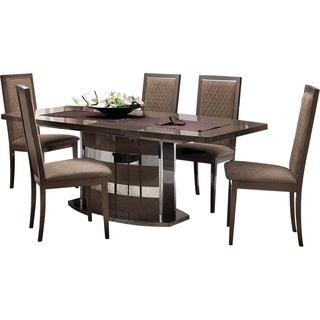 Luca Home Wood and Chrome Extendable Glam Dining Table