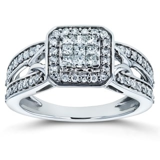 Annello By Kobelli 14k White Gold 1 2ct TDW Diamond Square Halo Invisible Set Split Shank Engagement Ring
