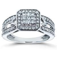 Annello by Kobelli 14k White Gold 1/2ct TDW Diamond Square Halo Invisible-set Split Shank Engagement Ring