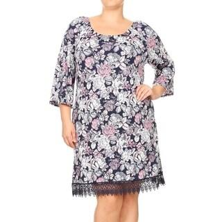 Women's Plus Size Multcolor Pattern Lace Trim Dress (Option: ivory floral - 2X)