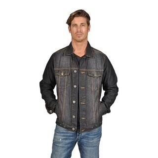 Mens Denim Jacket 2 Flap Pocket Button Closure Black Blast|https://ak1.ostkcdn.com/images/products/18537262/P24644591.jpg?_ostk_perf_=percv&impolicy=medium