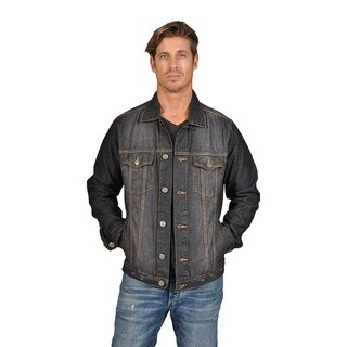 Mens Denim Jacket 2 Flap Pocket Button Closure Black Blast