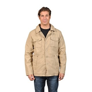 Men's Faux Leather Cargo Pockets Jacket Khaki