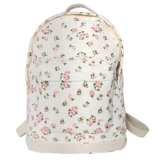 Leisureland Mini Kid's Canvas Backpack Cream Floral