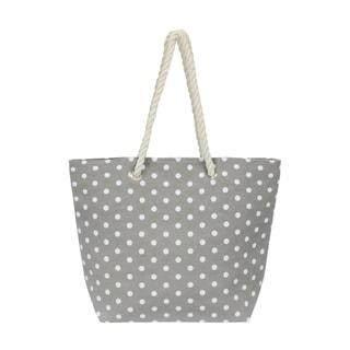Leisureland Large Water Resistant Polka Dot Canvas Beach Tote Bag (Grey)