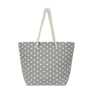 Leisureland Large Water Resistant Rope Handle Polka Dot Canvas Beach Tote Bag (4 options available)