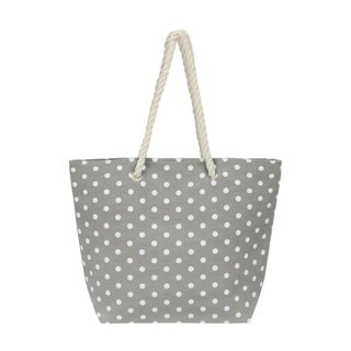 Leisureland Large Water Resistant Polka Dot Canvas Beach Tote Bag