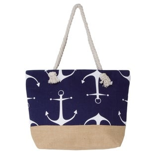 Large Canvas Water Resistant Anchor Rope Handle Beach Tote