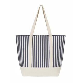 Leisureland Large Water Resistant Vertical Stripe Canvas Tote Bag (Option: Navy)
