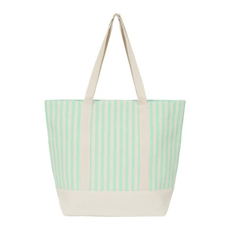 Leisureland Large Water Resistant Vertical Stripe Canvas Tote Bag