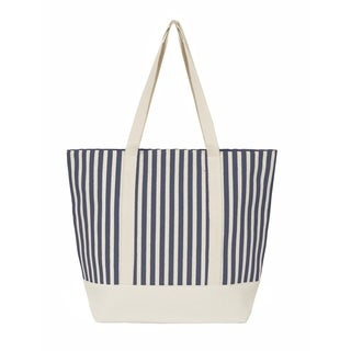Leisureland Large Water Resistant Vertical Stripe Canvas Tote Bag
