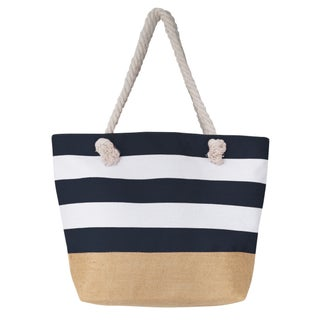 Large Canvas Water Resistant Beach Bag, Rope Handle Travel Tote Bag (Option: Navy)