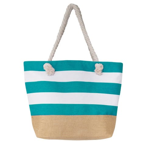 Large Canvas Water Resistant Beach Bag, Rope Handle Travel Tote Bag