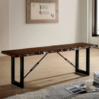 Furniture of America Terele Rustic Industrial Walnut Wood Metal 54-inch Bench