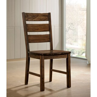 Furniture of America Terele Walnut Finish Wood Rustic Industrial Dining Chair (Set of 2)