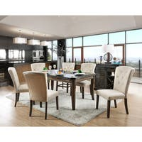"""Furniture of America Leliean Tufted Linen-like Upholstered Transitional Dining Chair (Set of 2) - 20 1/2""""W X 27""""D X 39 1/2""""H"""