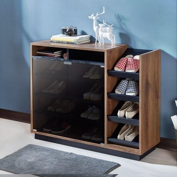 Shop Furniture Of America Barla Contemporary Two Tone Glass Door