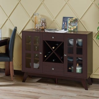 Furniture of America Lenta Contemporary Espresso 2-Cabinet Dining Buffet