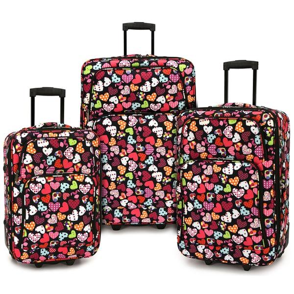 Elite Luggage Love Hearts 3-piece Expandable Softside Rolling Luggage Set