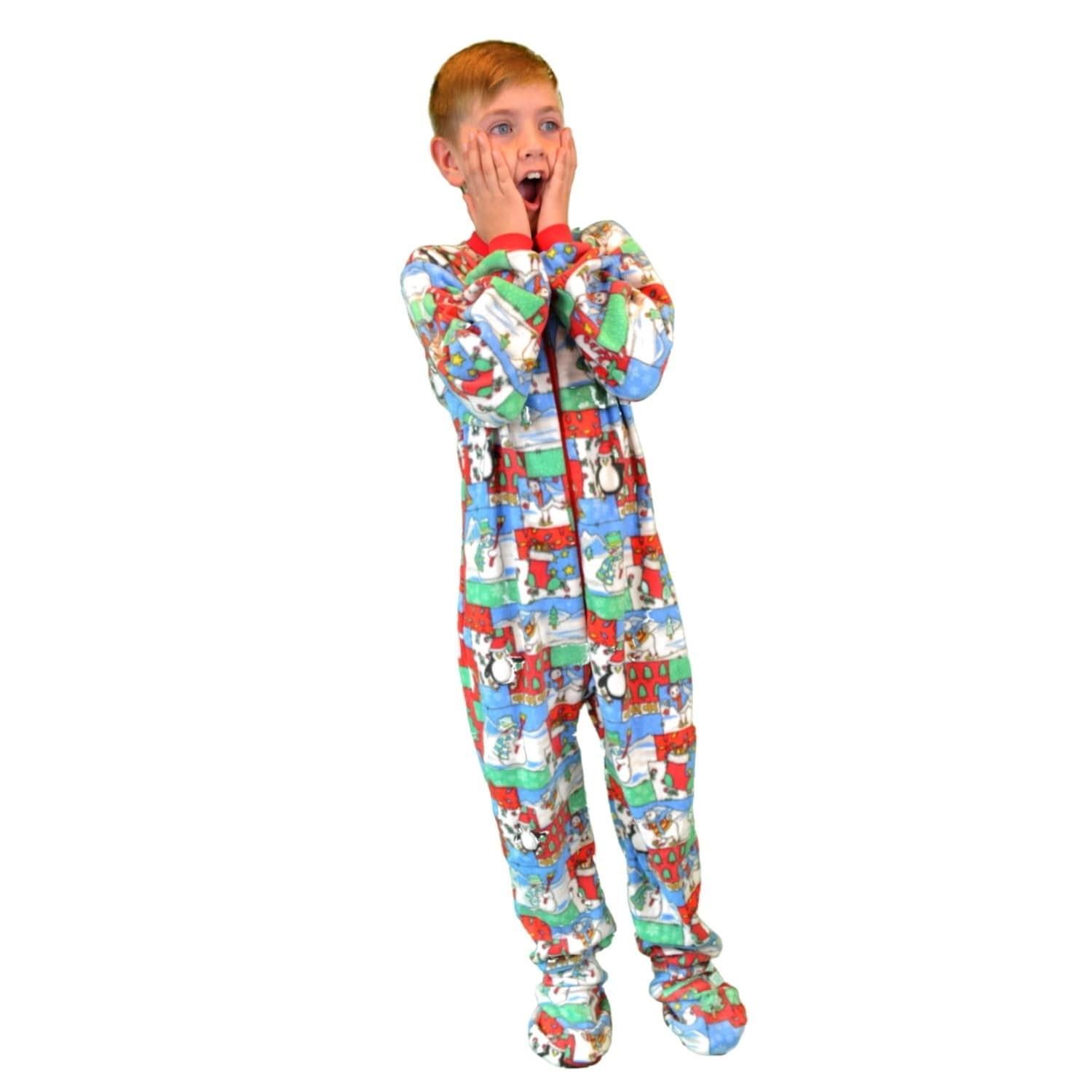 Christmas Footie Pajamas For Kids.Kids Fleece Christmas One Piece Footed Pajamas Sleeper