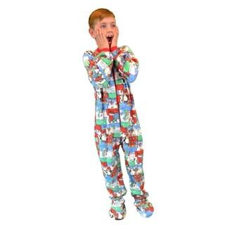Kids Fleece Christmas One Piece Footed Pajamas Sleeper
