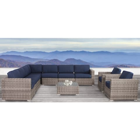 All Weather Resort Grade Outdoor Furniture Patio Sofa Set With Waterproof Back Cushions Antibes 10 piece Grey Sunbrella
