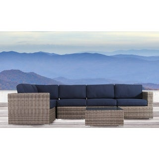 Living Source International Antibes 6-piece Grey Outdoor Wicker/ Sunbrella Sectional Set