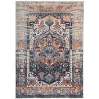 "Distressed Medallion Oriental Gray Area Rug - 7'6"" x 9'6"""
