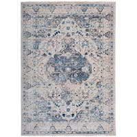 "Traditional Medallion Distressed Floral Beige Area Rug - 7'6"" x 9'6"""