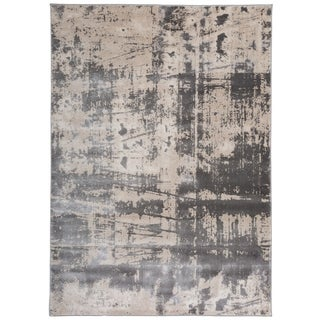 Distressed Modern Abstract Gray High-low Texture Area Rug (7'7 x 10')
