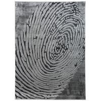 "Modern Abstract Fingerprint High-Low Texture Gray Area Rug - 7'7"" x 10'"