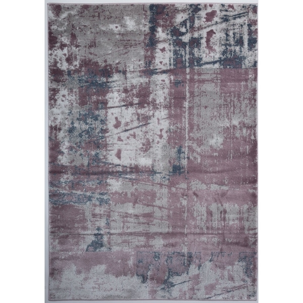 Shop Distressed Modern Abstract High Low Texture Purple Area Rug 7