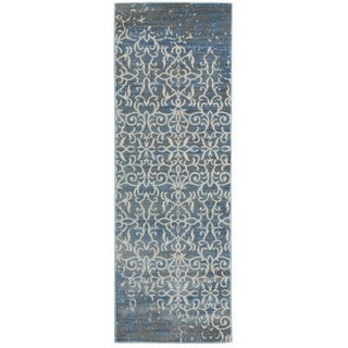 Vintage Distressed Blue Runner Rug - 2' x 6'