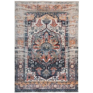 Distressed Medallion Oriental Gray Area Rug - 4' x 6'