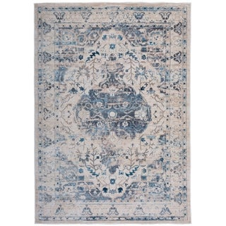 Traditional Medallion Distressed Floral Beige Area Rug - 4' x 6'