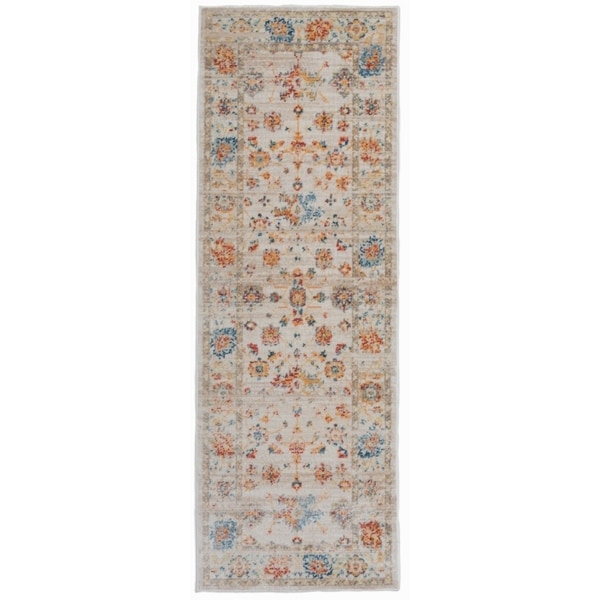 Traditional Oriental Distressed Cream Runner Rug - 2' x 6'