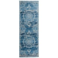 Traditional Medallion Distressed Blue Runner Rug - 2' x 6'
