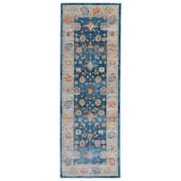 Traditional Oriental Distressed Blue Runner Rug - 2' x 6'