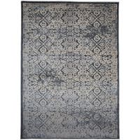 Transitional Distressed Floral High-low Texture Dark Grey Area Rug (5' x 7')