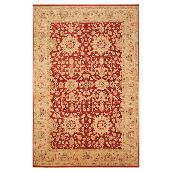 Vegetable Dyed Hand Knotted Floral Oushak Ivory Persian: Shop Handmade Herat Oriental Afghan Hand-knotted Vegetable